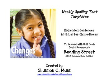 Reading Street Unit 3 Spelling Tests (Embedded Sentences w