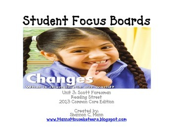 Reading Street Unit 3 Student Focus Boards (2013 Common Co