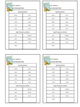 Reading Street Unit 3 Week 2 Spelling Packet