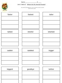 Reading Street Unit 3 Week 6 Spelling Packet