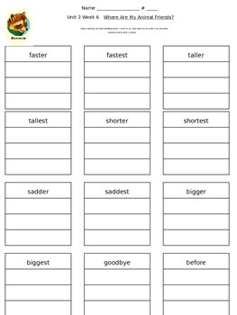 Reading Street Unit 3 Week 6 Spelling Packet
