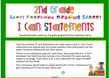 """2011- Reading Street- Unit 4- """"I can"""" statements"""