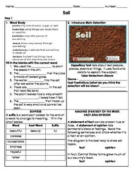 Reading Street - Unit 4 SOIL - Grade 2 Independent Reading Activity