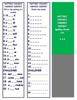 3rd Grade Reading Street Unit 4 Spelling