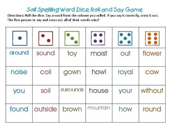 Reading Street Unit 4 Spelling Dice Game