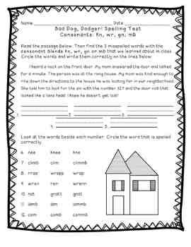 Reading Street: Unit 5 - Bad Dog! Dodger Spelling Word Blocks and Test