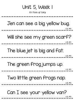 Emerging Readers Unit 5 Fluency Sentences (Aligned to Reading Street)