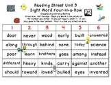 Reading Street Unit 5 Sight Word 4-in-a-row