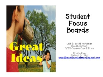 Reading Street Unit 5 Student Focus Boards (2013 Common Core Edition)