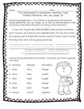 Reading Street: Unit 5 - The Signmaker's Assistant Spelling Word Blocks and Test