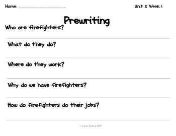 Reading Street Unit 5 Week 1 - Fire Fighter! Centers and Activities