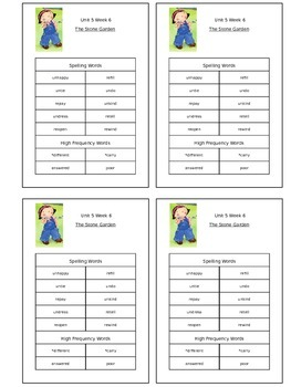 Reading Street Unit 5 Week 6 Spelling Packet