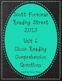 Reading Street Unit 6 Close Reading Comprehension - Grade 3