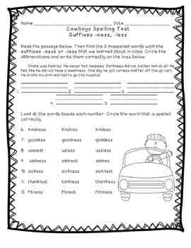 Reading Street: Unit 6 - Cowboys Spelling Word Blocks and Test