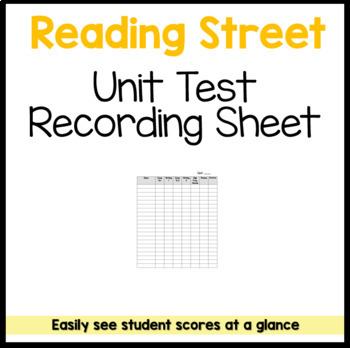 Reading Street Unit Test Recording Sheet FREEBIE