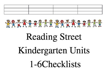 Reading Street Units 1-6 checklists and sight word checklist
