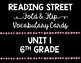 Reading Street Vocabulary Cards 6th Grade BUNDLE All Units
