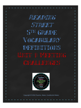 Reading Street Vocabulary Definitions - 5th Grade - Unit 1
