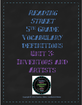 Reading Street Vocabulary Definitions - 5th Grade - Unit 3