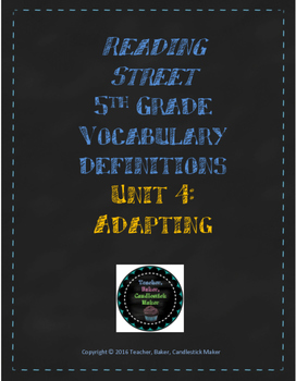 Reading Street Vocabulary Definitions - 5th Grade - Unit 4
