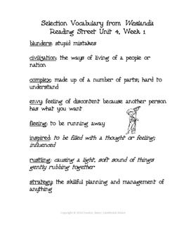 Reading Street Vocabulary Definitions - 5th Grade - Unit 4