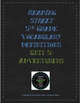 Reading Street Vocabulary Definitions - 5th Grade - Unit 5