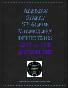 Reading Street Vocabulary Definitions - 5th Grade - Unit 6