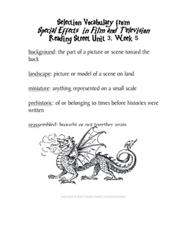 Reading Street Vocabulary Definitions - 5th Grade - Units 1 Through 6