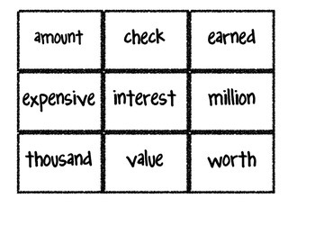 Reading Street Vocabulary Matching Game- Theme 1 If You Made a Million