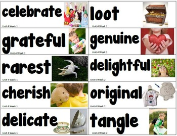 Reading Street Vocabulary Word Wall Cards for All Units 1st Grade
