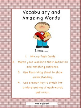 Reading Street Vocabulary and Amazing Word Task Cards Grade 2