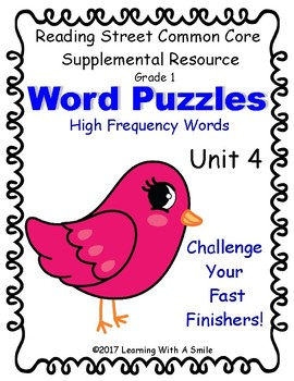 Reading Street WORD PUZZLES ~ High Frequency Word Puzzle CHALLENGE Unit 4