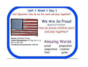 Reading Street We Are So Proud Flip Chart Days 1-5