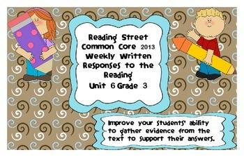 Reading Street Common Core 2013-Written Response Organizers & Tests-Unit 6