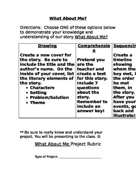 Reading Street: What About Me Project and Rubric!