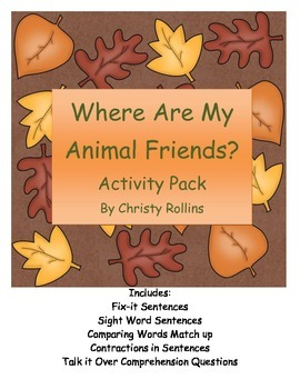 "Reading Street ""Where Are My Animal Friends? Activity Pack"