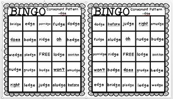 Reading Street: Where Are My Animal Friends BINGO Consonant Pattern -dge