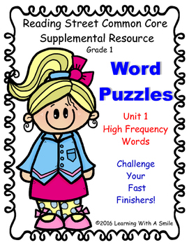 Reading Street Word Puzzles ~ High Frequency ~ Word Puzzle Challenge Unit 1