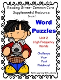 Reading Street High Frequency Word Puzzle Challenge Unit 2