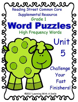 Reading Street Grade 1 Word Puzzles ~ High Frequency Challenge ~ Unit 5