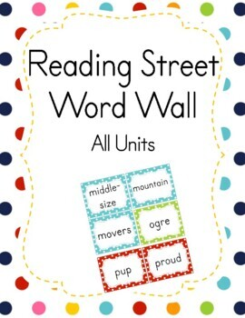 Reading Street Word Wall Kindergarten Polka Dot