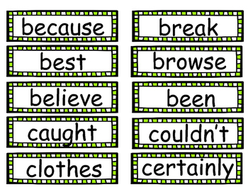 Reading Street Word Wall Words in Green
