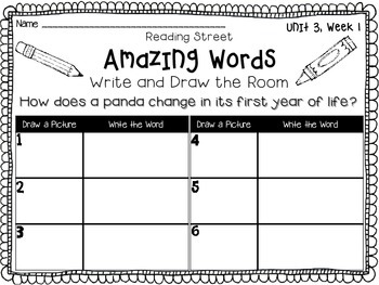 Reading Street {Write and Draw the Room} {Amazing Words} {Recording Sheets}