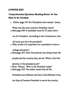 Reading Streets 4th grade So you want to be president Comprehension questions