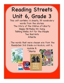 Reading Streets Grade 3 Unit 6 Vocabulary Cards