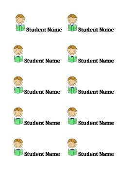 Reading Student Name Tag Labels