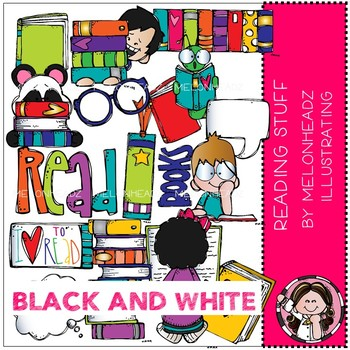 Reading Stuff clip art - BLACK AND WHITE - Melonheadz Clipart