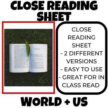 Close Reading Sheets