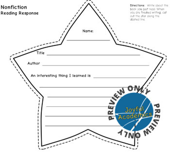 Star Shaped Reading Response Sheets for Any Book