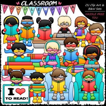 Reading Superheroes Clip Art - Reading Clip Art & B&W Set